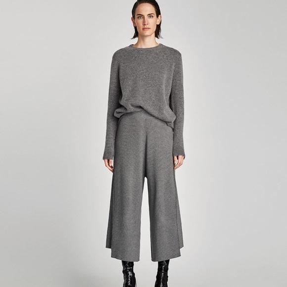 fab6fd7c Zara Pants | Nwt Gray Knit Ribbed Culottes | Poshmark